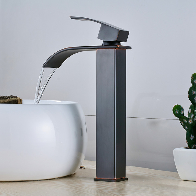 Brushed Nickel Basin Vanity Sink Faucet Single Handle Waterfall Bathroom Mixer Deck Mount Hot Cold Water Tap 3 Color For Choice