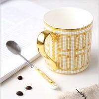French high grade bone china mug European coffee mug mug hand painted gold rimmed ceramic cup
