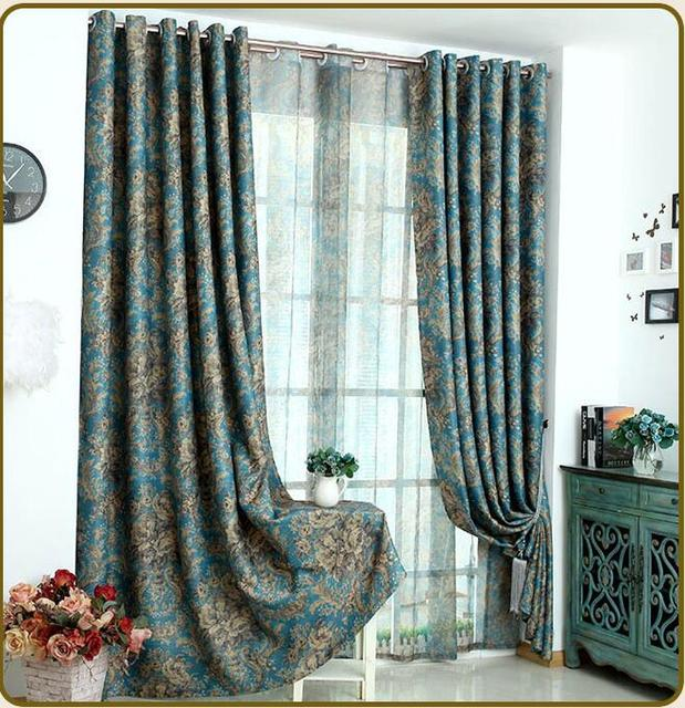 Fyjafon Blackout Curtains For Living Room/ Bedroom Double Printed Curtains  Europe Style Thickening 90%