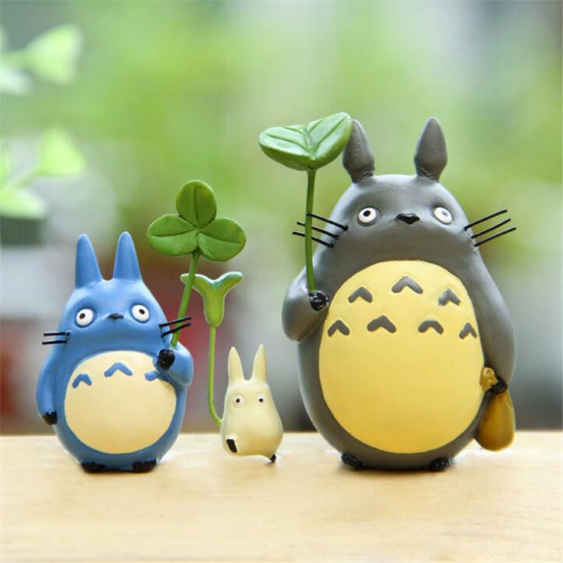 все цены на 3Pcs/set Cartoon Miyazaki Hayao My Neighbor Totoro with Umbrella Doll PVC Action Figure Toys Kids Collection dolls в интернете