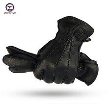 CHING YUN ฤดูหนาว Man ผิวหนังกวางถุงมือ Buckskin ชาย WARM Soft Mens Black WAVE Pattern Mittens ขนสัตว์ 70% lining WZ01
