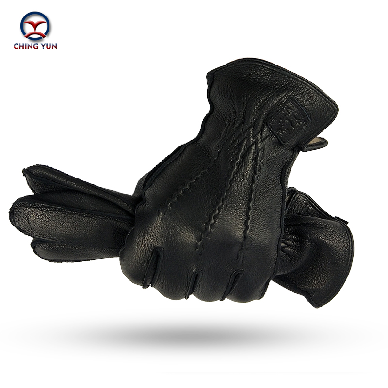 CHING YUN Winter Man Deer Skin Leather Gloves Buckskin Male Warm Soft Men's  Black Wave Pattern Mittens 70% Wool Lining-WZ01
