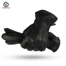 CHING YUN Winter Man Deer Skin Leather Gloves Buckskin Male Warm Soft Mens  Black Wave pattern Mittens 70% Wool Lining WZ01