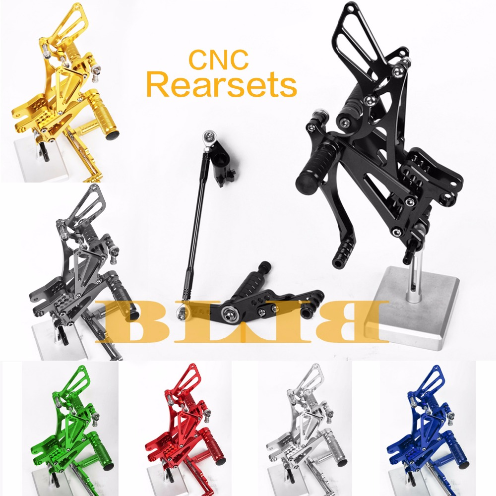 цены 8 Colors CNC Rearsets For Yamaha YZF R1 2007 - 2008 Rear Set Motorcycle Adjustable Foot Stakes Pegs Pedal Hot High-quality Rests