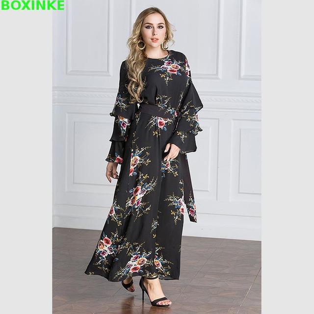 2018 Plus Size Robe Sale Bohemian Loose Print Full Dress Big Muslim Arabia 98070d292c82