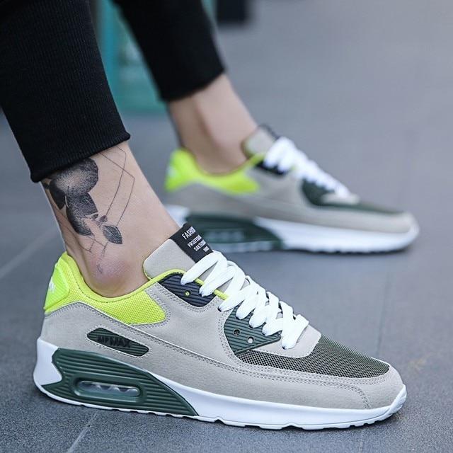 Zapatillas deportivas para hombre, zapatillas para correr para hombre, suela de aire, cómodas, transpirables, con cordones, zapatillas para correr al aire libre para adultos, tamaño máximo 39-47