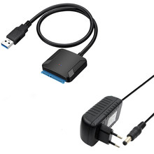 SATA USB3.0 Adapter kabel konwertera 22 pin USB 3.0 do kabel SATA z ue usa wielka brytania adapter do 2.5 cal 3.5 cal dysk twardy dysk twardy ssd(China)