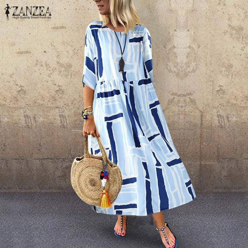 €11.32 29% СКИДКА|Богемный сарафан женское пляжное платье с цветочным принтом ZANZEA летнее праздничное платье с круглым вырезом и рукавом до локтя повседневные свободные платья кафтан|Платья| |  - AliExpress