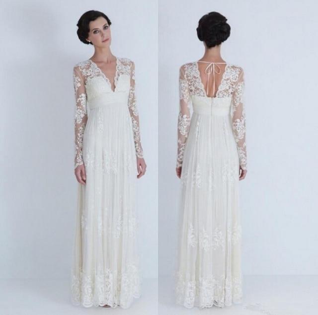 Vintage Lace Wedding Dress Long Sleeve Plus Size Wedding Gowns