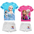 Summer Snow Queen Girls Clothing Sets Elsa Anna Princess T Shirts + Shorts Tracksuit Ensemble Fille Outfits For 2 4 6 8 10 Yrs