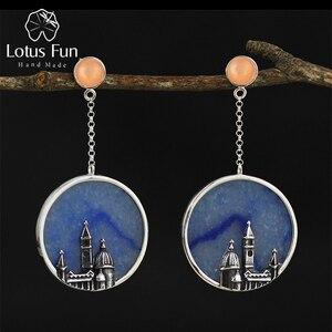 Image 1 - Lotus Fun boucles doreilles pour femmes, bijoux fins naturels originaux, faits à la main, Vintage, Florence cathédrale