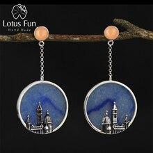 Lotus Fun prawdziwe 925 srebro naturalne oryginalne ręcznie elegancka biżuteria w stylu Vintage florencja katedra Dangle kolczyki dla kobiet
