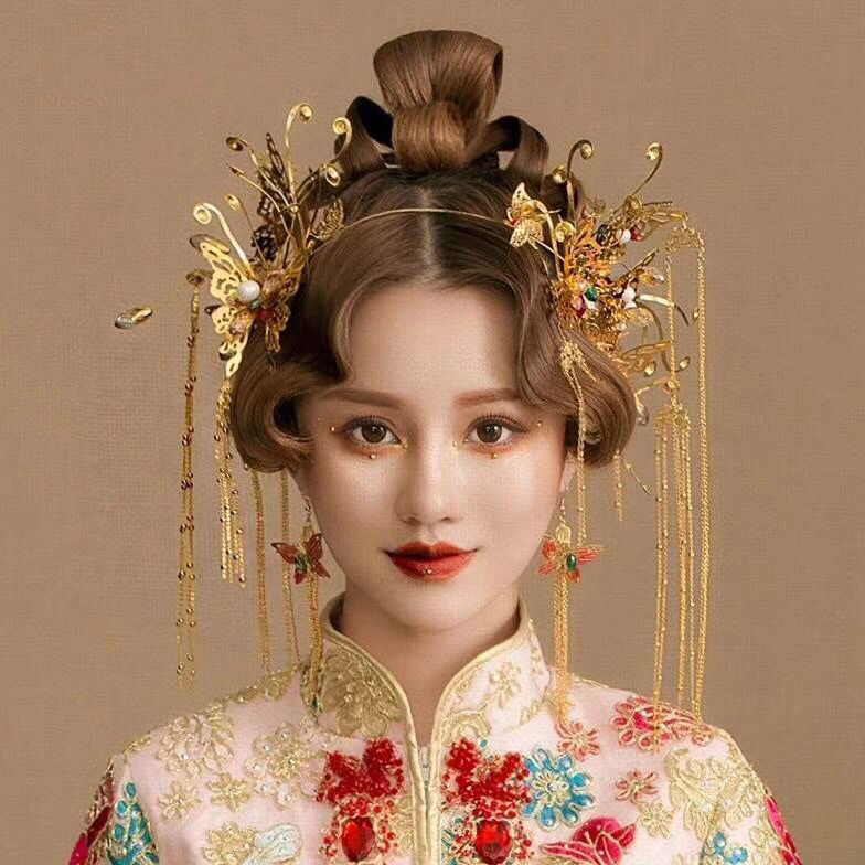 Vintage Chinese Hair Styles Classical Jewelry Traditional Gold