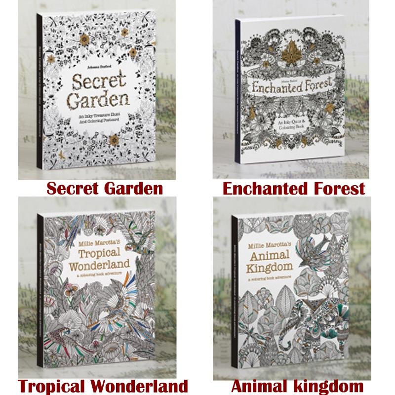 4 Picture Album 1 Set In English Secret Garden Gel Coloring Book Color Pencil Painting Graffiti Coloring This Reduced Pressure