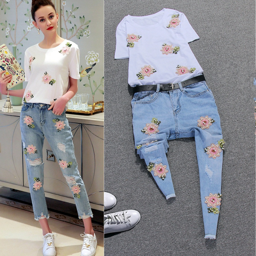 Fresh Ladies Denim Clothing Set Women Flowers Sequin Embroidery Cotton Tees Tops and Casual Hole Denim Jeans Pants Suits NS27