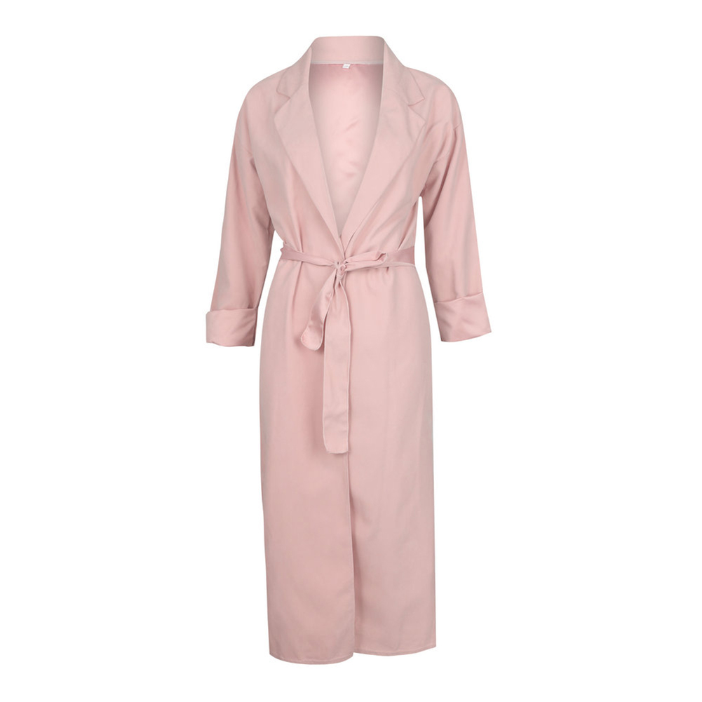 Womens Long Overcoat Casual Belt Pink 2018 New Fall Winter Fashion Open Front Cardigan   Trench   Long Sleeve Duster Chic Overcoat