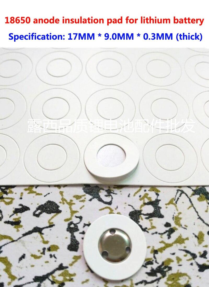 100 pçs/lote A 1 seção 18650 bateria de lítio 18650 oco superfície plana isolamento pad isolamento pad méson 17*9.0*0.3