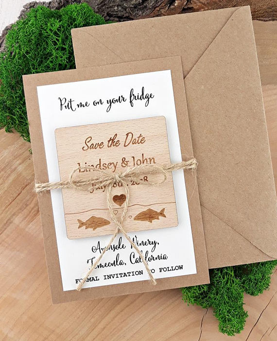 Personalized Fish Beach Wedding Announcement Wooden Save The Date Magnets Bridal Shower Party Favors Gifts Invitation Cards