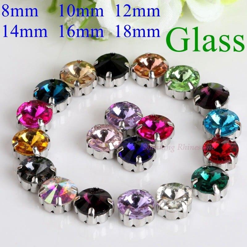 Satellite/Runde Form Glas Strass Mit Klaue Nähen Auf Kristall Stein Strass Diamant Metall Basis Schnalle Für Kleidung
