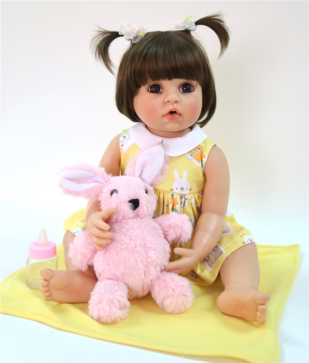 rabbit with 22Inch Reborn Baby Doll Full Body Silicone 55cm Realistic smooth Skin Baby Doll Girl Kid Birthday Gift bebe Baby Toyrabbit with 22Inch Reborn Baby Doll Full Body Silicone 55cm Realistic smooth Skin Baby Doll Girl Kid Birthday Gift bebe Baby Toy