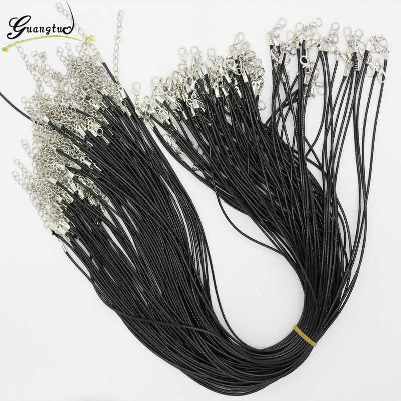 Wholesale 10pcs Black Rubber Chain Necklace PU Leather Cord Twisted Braided Rope 2mm 45 cm Lobster Clasp DIY Jewelry Bijoux
