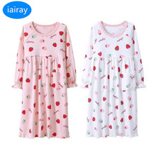 iairay 2pcs kids cotton pajamas for girls sleepwear children nightgown cherry print pijamas kids nightdress girl sleeping dress недорого
