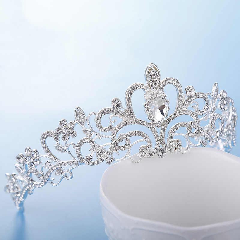Bride Pengantin Pernikahan Putri Mahkota Kristal Rambut Perhiasan Kontes Anak-anak Queen Perak Tiara Rhinestone Ulang Tahun Gadis Crown Mahkota