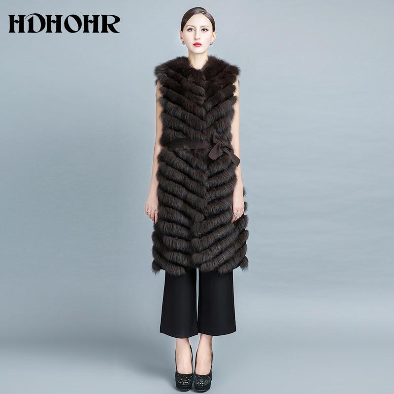 HDHOHR 2019 բարձրորակ Fox Fur Vest Long Fox Warm Women - Կանացի հագուստ - Լուսանկար 2