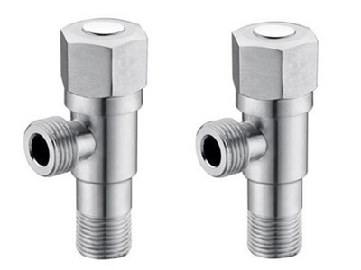 2 pieces Angle Valves SUS304 stainless steel brushed Kitchen Angle Valve for Toilet Sink Basin Water Heater AG084