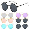 6 Colors Oversized Cat Eye Sunglasses Flat Mirrored Lens Metal Frame Women Men Fashion