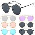 6 cores oversized cat eye óculos de sol espelhado lens armação de metal dos homens das mulheres da moda plana