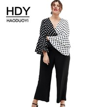 HDY Haoduoyi 2019 Summer Lady Casual Fashion Patchwork Two-tone  Polka Dot Cascading Flare Sleeve Large Size Shirt