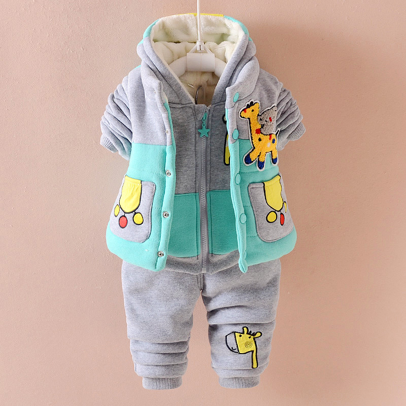 1-3 Years Baby Boy 3-piece Winter Suit Casual Cartoon Fashion Warm Set Hooded Hoodies Sports Clothes TZ004 2pcs set baby clothes set boy