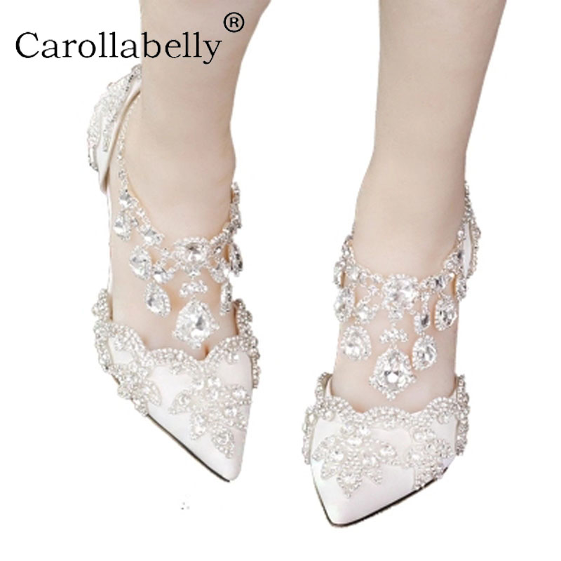 2018 Women Bridal Shoes Ankle Strap High heels Prom Wedding Shoes Lady Crystal Platforms White Glitter Rhinestone Party Pumps