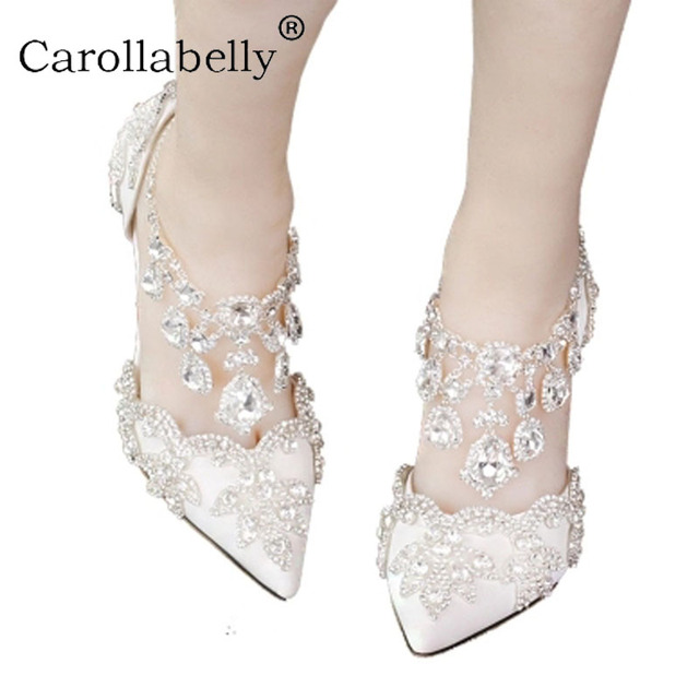 56931d4209b US $80.02 |2018 Women Bridal Shoes Ankle Strap High heels Prom Wedding  Shoes Lady Crystal Platforms White Glitter Rhinestone Party Pumps-in  Women's ...