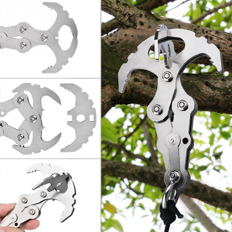 2-in-1 Rock Climbing Gravity Hook Foldable Grappling Hook Stainless Steel Grappling Hook For Rock Climbing/ice Climbing #918