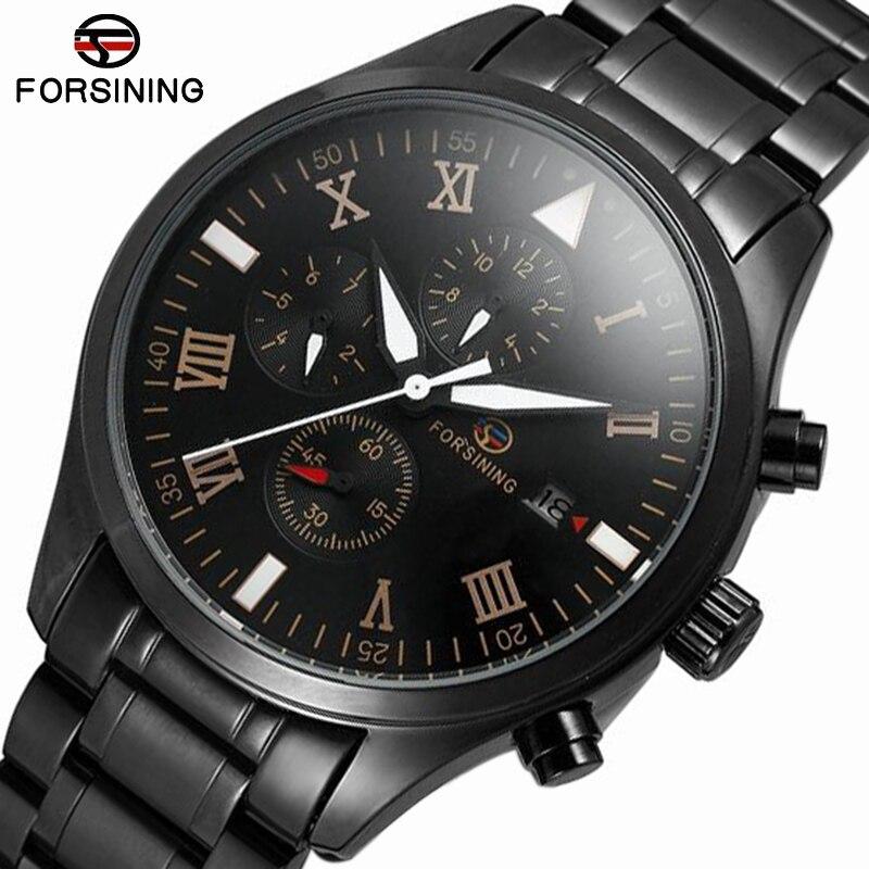 Top marque de luxe Forsining en acier noir mains lumineuses étanche en acier inoxydable Steampunk horloge hommes homme automatique montre-bracelet