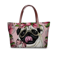 Noisydesigns Women Shopper Bag Canada Designer Bags Pug Pattern Handbags Women Casual Tote Famous Brands Girls Big Beach Bags