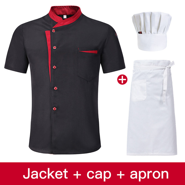 High Quality Unisex Chef Uniform Kitchen Workwear Jacket + Hat + Apron