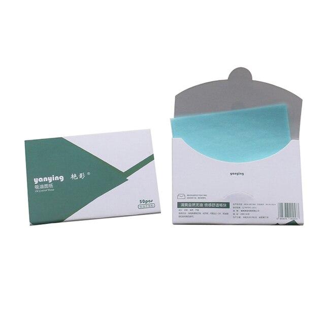 50 unids/caja hojas de limpieza de aceite Facial papeles de absorción de aceite Control de aceite cara maquillaje herramienta de cuidado 10c x 7,2 cm