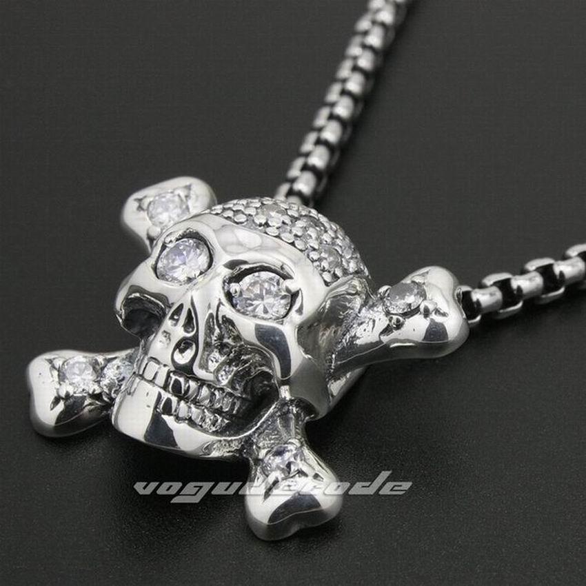 LINSION 925 Sterling Silver White CZ Stone Pirate Skull Cross Bone Mens Biker Rock Punk Pendant 8N013 925 sterling silver lovely dumbo white cz stone pendant 9s107a 92 5
