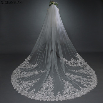 NIXUANYUAN 2019 Elegant 3*3 Meters White/Ivory Appliqued Mantilla Bridal Veil Wedding Veil Long With Comb Wedding Accessories