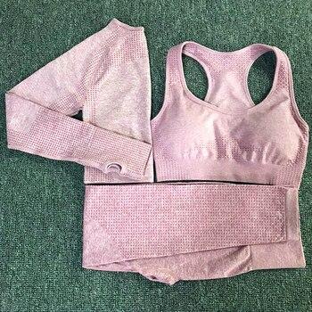 Set de Yoga 3 uds Vital Leggings sin costura Sujetador deportivo + Top corto de manga larga + leggings de gimnasio para correr traje deportivo de fitness de cintura alta para mujer