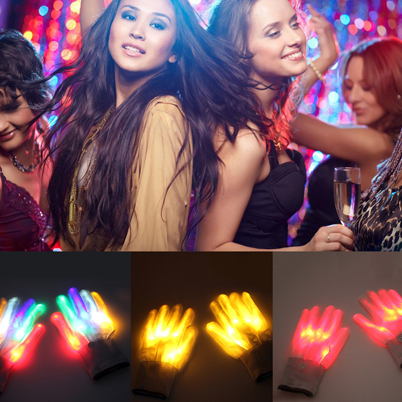 Pair Of Colorful LED Finger Lighting Flashing Gloves Rave Light Festive Event Party Supplies Luminous Cool Skeleton Glove Light