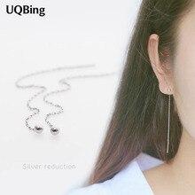 Дизайн 925 пробы серебряные серьги с кисточками длинные Позолоченные каплевидные серьги с квадратными для Для женщин Brincos