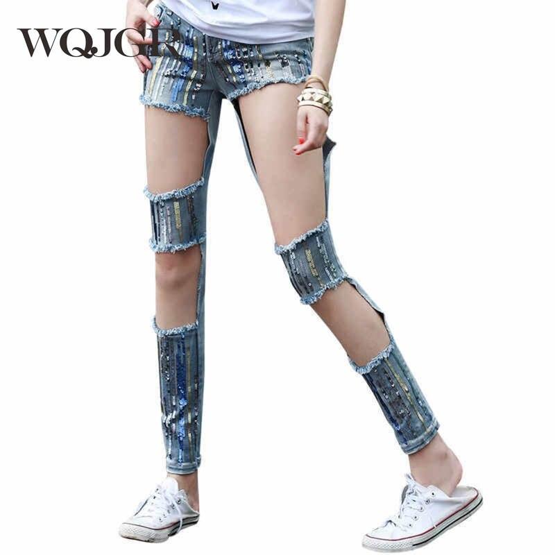 WQJGR Hole Jeans Woman Fashion Beggar European Personality Street Woman Pencil Bound Feet Pants beggar s feast