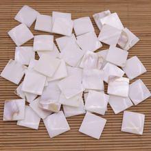 50 шт 20 мм квадратные кабошоны из натурального белого жемчуга