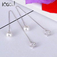 IOGOU Pure 925 Sterling Silver Drop Earring Simulated Pearl Mini Star Earrings Yung Lady Party Show Gift Dangle Silver Earring