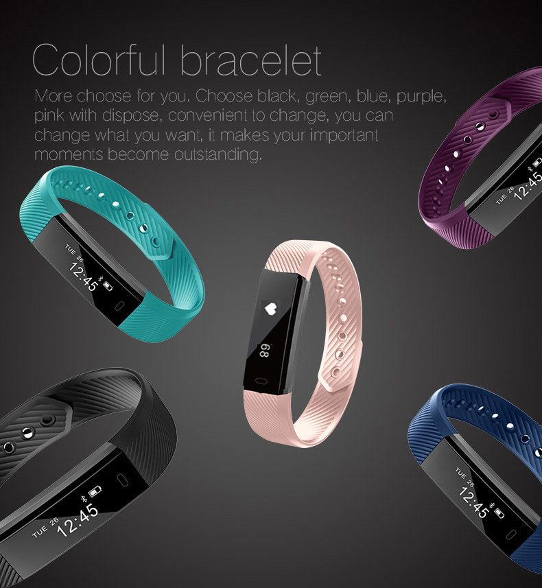 Hold Mi Smart Band ID115 HR Bluetooth Wristband Heart Rate Monitor Fitness Tracker Pedometer Bracelet For Phone 22