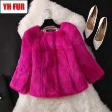 2019 abrigo de piel de conejo Real para mujer chaqueta de piel de conejo auténtica prendas de abrigo Casual corto Real abrigos de piel